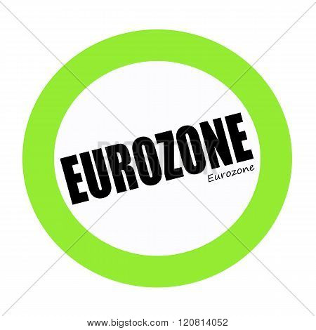 an images of EUROZONE black stamp text on green