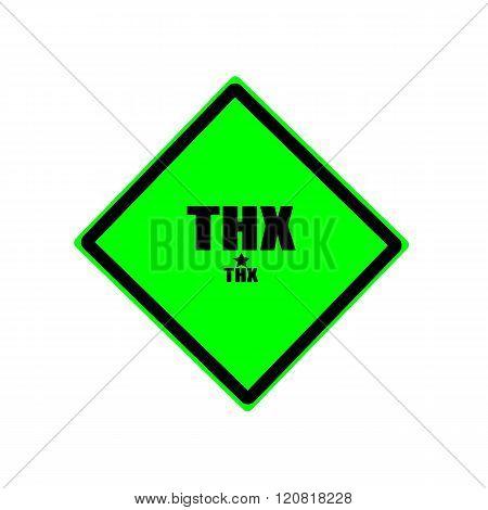 Thx black stamp text on green background
