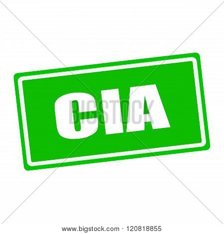 Cia white stamp text on green background