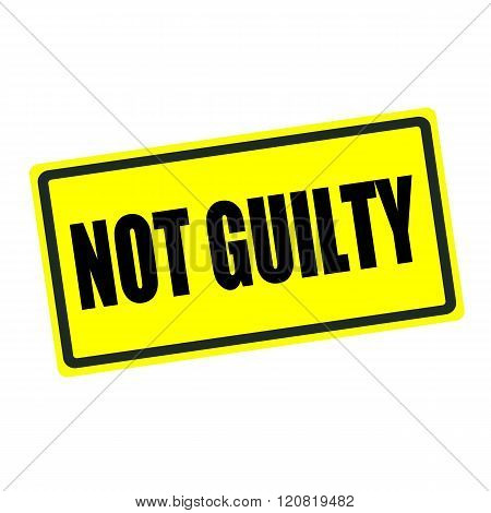 Not guilty back stamp text on yellow background