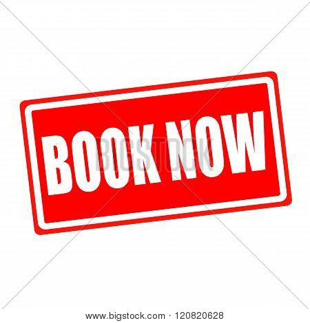 Book now white stamp text on red backgroud