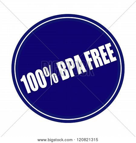 100 PERCENT BPA FREE white stamp text on blue