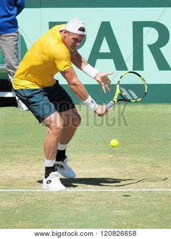 Australian Tennis Player Sam Groth During Davis Cup Singles Ag