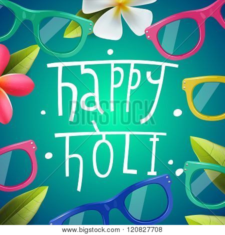 Happy Holi poster of indian color festival