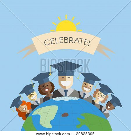 People Of The World Graduation And Education Concept