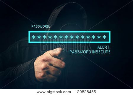 Password Insecure Alert, Unrecognizable Computer Hacker Stealing P