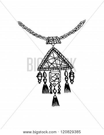 Hand Drawn Ink Necklace In Boho Style