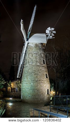 Montefiore Windmill At Night, Jerusalem