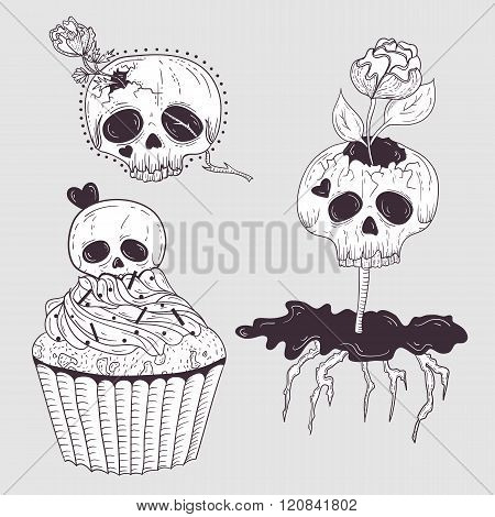 Cute tattoo skulls. Skull set with flowers and hearts.