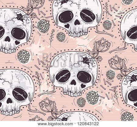 Cute tattoo style skull seamless patten. Skull with flowers and poka dots. Sugar skull background.