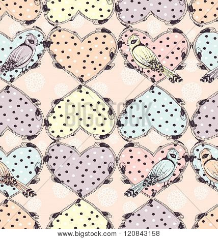 Cute tattoo hearts and birds seamless pattern