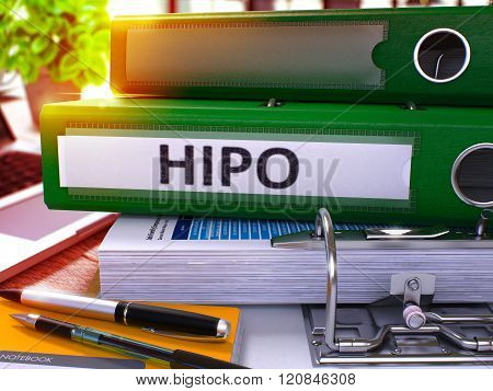 Green Office Folder with Inscription HiPo.
