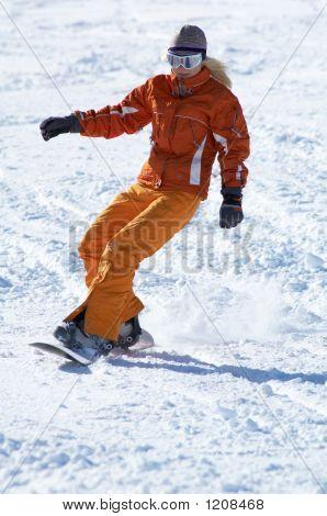 Orange Snowboard Girl Downhill