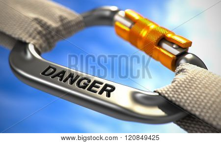 Chrome Carabine Hook with Text Danger.