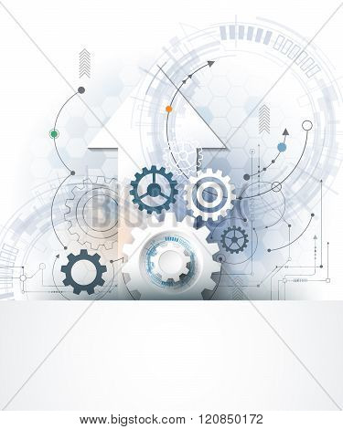Vector Illustration Gear Wheel, Hexagons And Circuit Board