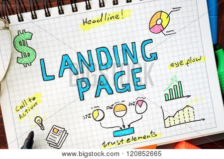 Landing page written in a notebook.
