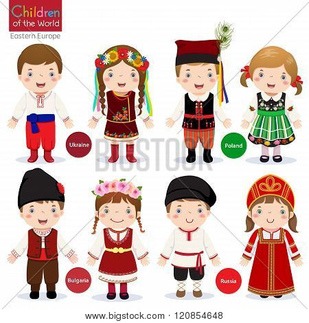 Kids In Different Traditional Costumes (ukraine, Poland, Bulgaria, Russia)