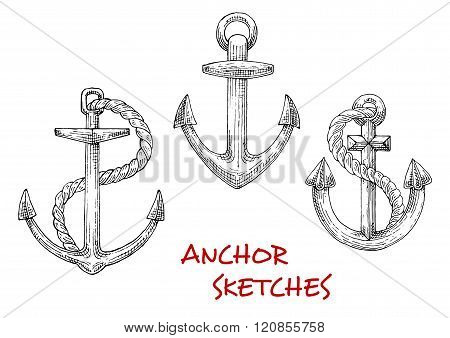 Vintage marine anchors with ropes