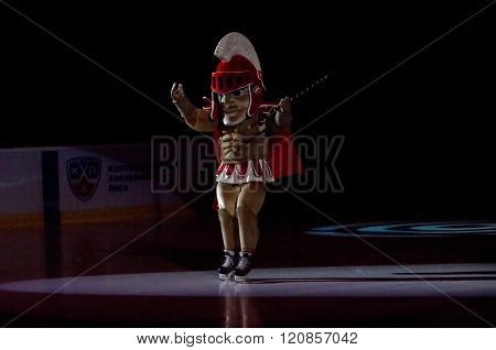 MOSCOW - JANUARY 15: Mascot of the Spartak team just before hockey game Spartak vs Admiral on Russian KHL premier hockey league Championship on January 15 2016 in Moscow Russia. Spartak won 5:4