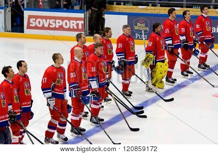 MOSCOW - JANUARY 29 2016: Unidentified players of Czech team just before hockey game Sweden vs Czech on League of World legends of Ice hockey championship in VTB ice arena Russia. Czech won 8:2