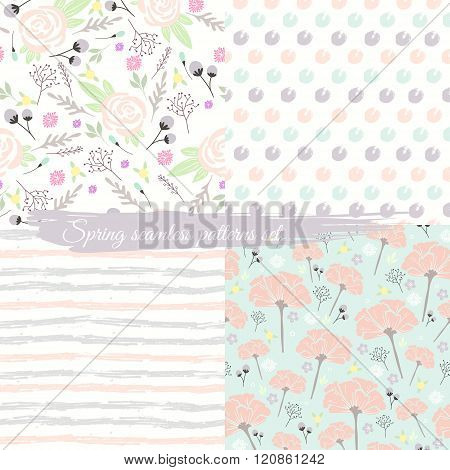 Seamless spring floral patterns set. Background with flowers leafs stripes and polka dots.