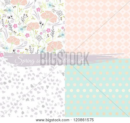 Seamless spring floral patterns set. Background with flowers leafs animal print and polka dot.