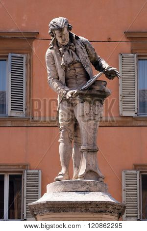 BOLOGNA, ITALY - JUNE 04: Monument of Luigi Galvani, Italian physician, physicist and philosopher in Bologna, Italy, on June 04, 2015