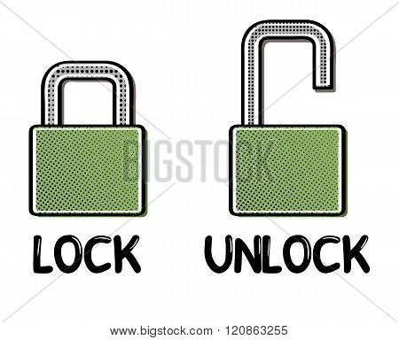 Comic Open And Closed Lock