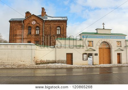 Staraya Ladoga, Russia - 23 February, Staraya Ladoga Gates Holy Assumption nunnery, 23 February 2016. Tourist places in the great ancient route from the Vikings to the Greeks . Staroladozhsky Holy Assumption nunnery. Gold ring of Russia.