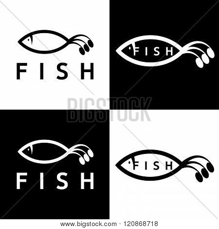 Abstract Fish Vector Design Template . Concept Of Graphic Clipart Work