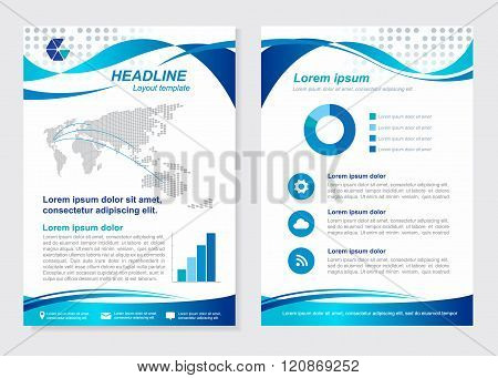 Layout Template Size A4 Front Page And Back Page  Blue Wave Vector  Design
