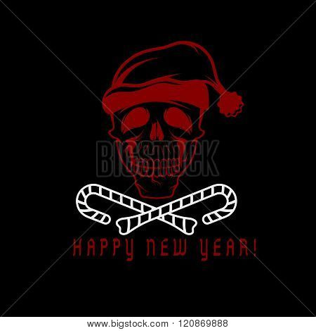 Skull With Candies In His Mouth And A Santa Claus Hat