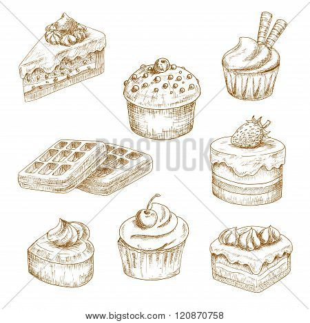 Delicious bakery and pastries sketches