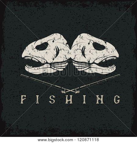Vintage Fishing Grunge Emblem With Skulls Of Trout