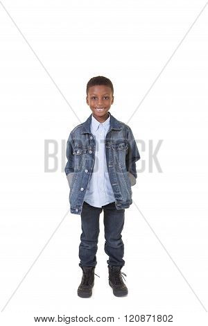 Portrat of a happy boy isolated on white