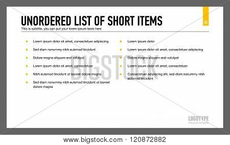 Unordered List of Short Items