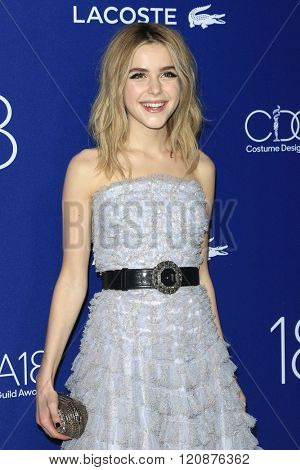 LOS ANGELES - FEB 23: Kiernan Shipka at the 18th Costume Designers Guild Awards at the Beverly Hilton Hotel on February 23, 2016 in Beverly Hills, California