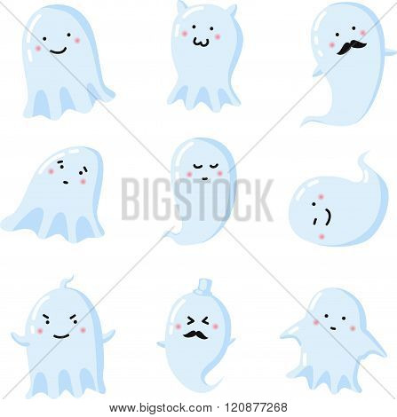 Set Of Different Cute Ghosts