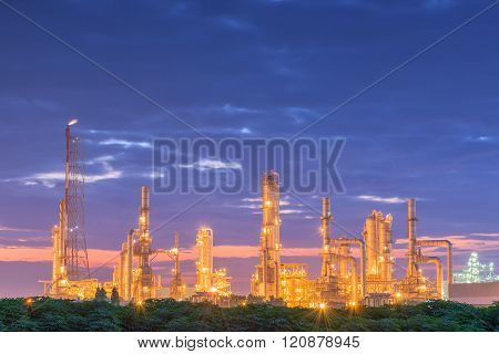 Luminosity of oil refinery plant, Morning scene.