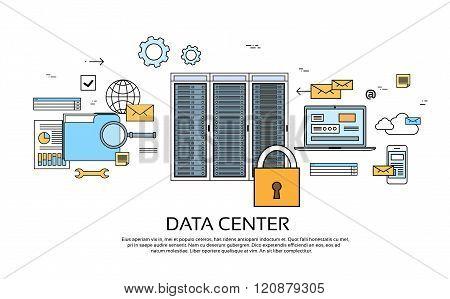 Data Center Hosting Server Computer Device Information Database Technology Banner Thin Line Vector Illustration poster