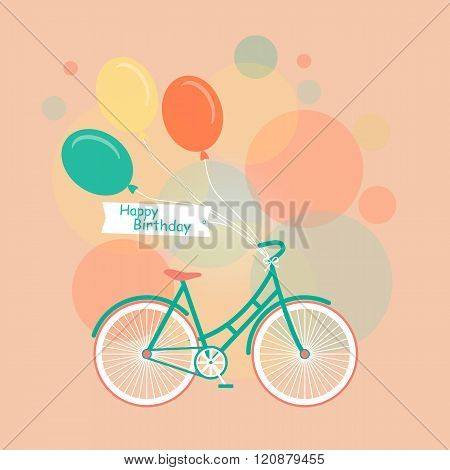 Bicycle with balloons of different colors. Minimalistic flat bicycle illustration. Retro Illustration Bicycle. Vector modern flat illustration of stylish bicycle isolated. Romantic Birthday card.