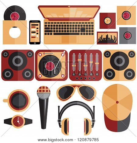 Flat Design Vector Illustration Of Dj And Music Theme
