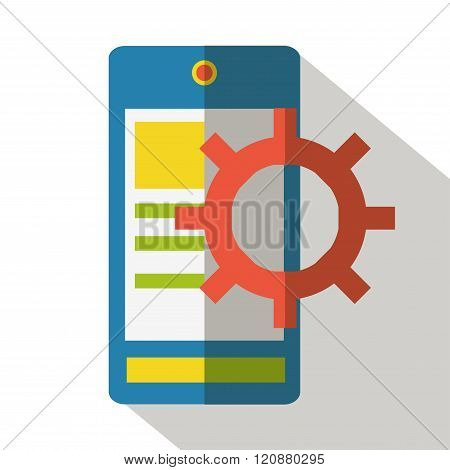 Mobile icon vector flat isolated front view