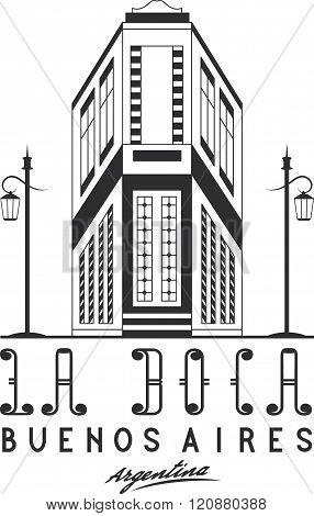 Vector Illustration Caminito Street In La Boca Neighborhood Of Buenos Aires, Argentina