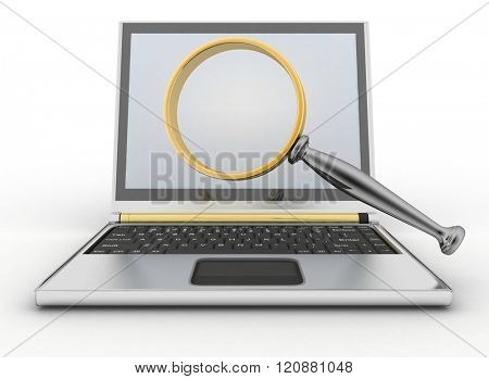 Laptop and magnifying glass. Conception of search of answers or support in the Internet. 3d illustration isolated on white background