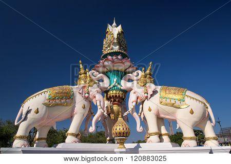 Pink Elephant Statue In Bangkok