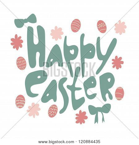 Colorful Happy Easter Greeting Card With Rabbits.