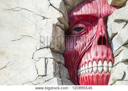 ATTACK ON TITAN WALL, Universal Parks & Resorts' Universal Studios Japan, OSAKA - Feb 15: Attack on Titan wall in Universal Parks & Resorts' Universal Studios Japan theme park in Osaka on Feb 15, 2016