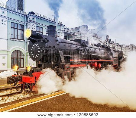 Departure Of The Retro Steam Train.