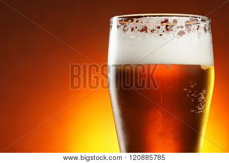 Glass of beer close-up. Shallow DOF!